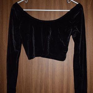 Mossimo Long Sleeve Black Velvet Crop Top Size S